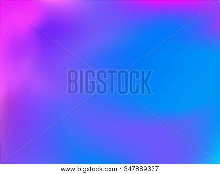 Holographic Gradient Neon Vector Illustration. Futuristic Blue Purple Ultraviolet Background. Liquid