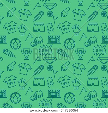 Seamless Soccer Sport Pattern. Football Icons Pattern Background With Team Uniform, Referee Whistle,