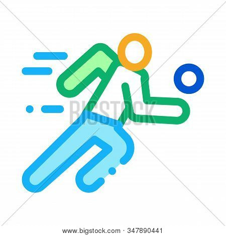 Volleyball Player In Run Icon Vector. Outline Volleyball Player In Run Sign. Isolated Contour Symbol