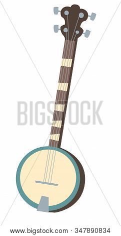 Vector Banjo, Musical Instrument Isolated On White Background. Flat Icon Of American Banjo, Retro Gu