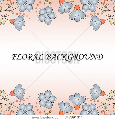 Spring Abstract Floral Background, Pastel Colors, Flax Flowers Manatee Color, Golden Leaves With Ora