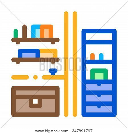 Chest Of Drawers Icon Vector. Outline Chest Of Drawers Sign. Isolated Contour Symbol Illustration
