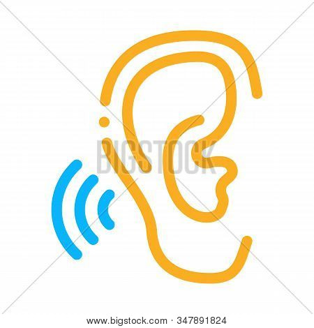 Hears Sound Icon Vector. Outline Hears Sound Sign. Isolated Contour Symbol Illustration