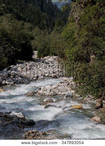 Down Streem Creek In Mountain Area