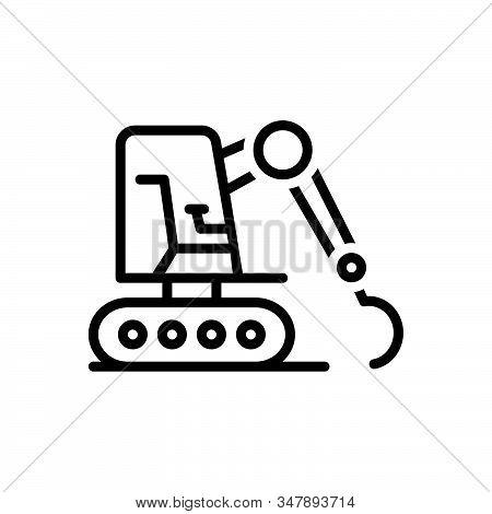 Black Line Icon For Excavator Equipment Mini Machinery Excavating Bulldozer Digger Loader Backhoe