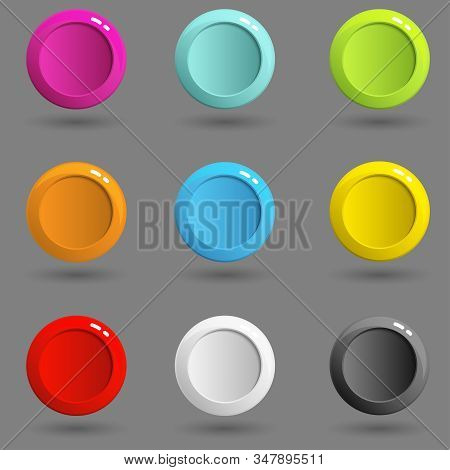 Blank Buttons. Set Of Web Color Round Buttons. Colorful 3d Buttons Paper Cut Style. Vector Illustrat