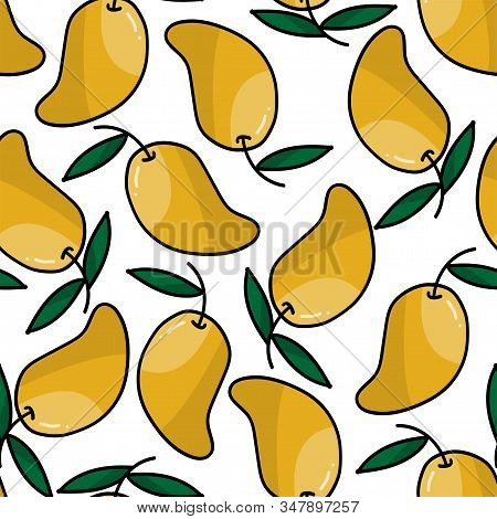 Seamless Pattern Of Cute Doodle Mango With Leaves, Sweet Mango On White Background. Vector Illustrat