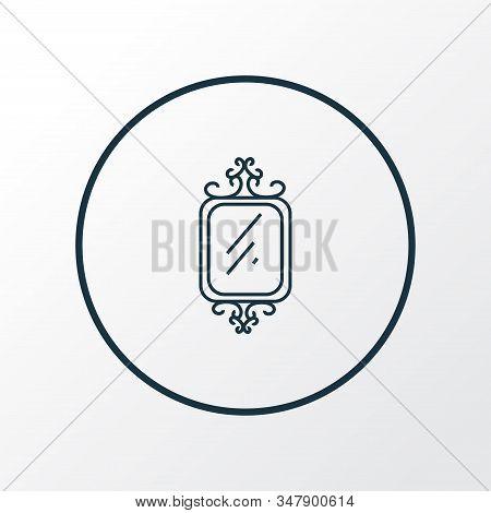 Wall Mirror Icon Line Symbol. Premium Quality Isolated Vanity Element In Trendy Style.
