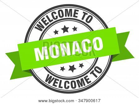 Monaco Stamp. Welcome To Monaco Green Sign