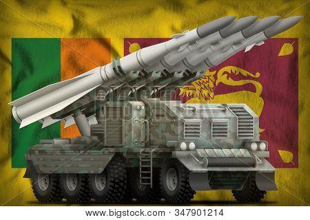 Tactical Short Range Ballistic Missile With Arctic Camouflage On The Sri Lanka Flag Background. 3d I