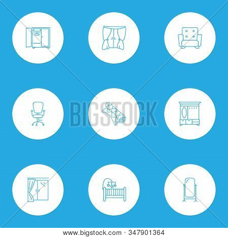 Interior Icons Line Style Set With Window, Hall Cupboard, Floor Mirror And Other Ergonomic Armchair
