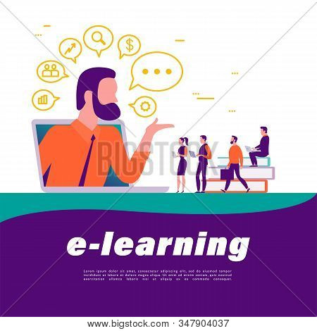 Online Learning Concept. People With Device At Laptop, Teacher Metaphor, Video, Social Media, Commun