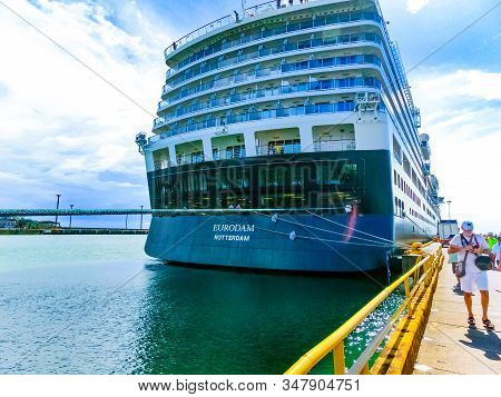 Puerto Limon, Costa Rica - December 9, 2019: Holland America Cruise Ship Eurodam Docked At Puerto Li