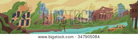 Abandoned Post Apocalyptic World Cartoon Vector Illustration. Colored Destruction In War Zone, Natur