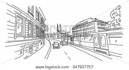 Bielefeld, View City Street, Sketch Illustration. Architectural Sights European City. City In German