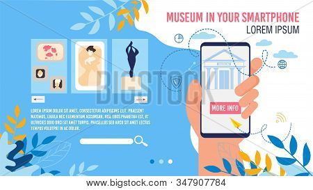 Virtual Museum In Smartphone Application Webpage Mockup. Art Gallery Mobile App. Classic And Ancient