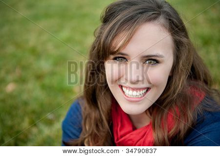 Smiling Teenage Girl Outisde