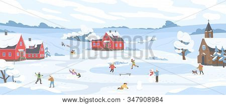 Panorama Of Winter Landscape With Leisure People Vector Illustration. Happy Cartoon Characters Enjoy
