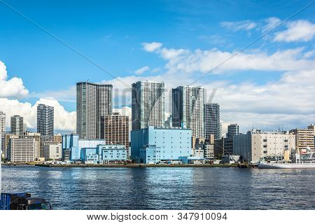 Tokyo, Japan, Asia - September 7, 2019 : Tokyo Skyline View From The New Takeshiba Pier