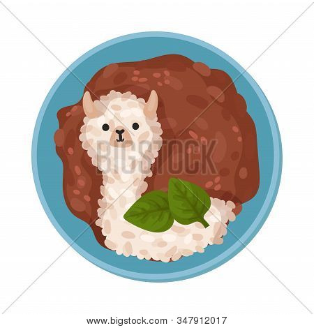Food For Kids Arranged In Shape Of Lama Animal Top View Vector Illustration