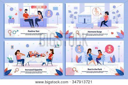 Pregnancy Test, Pregnant Woman Appetite, Hormone Surge, Relationships Trendy Flat Vector Banner, Pos