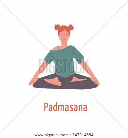 Relaxed Girl With Closed Eyes Sitting In Padmasana Position Vector Flat Illustration. Meditation Yog