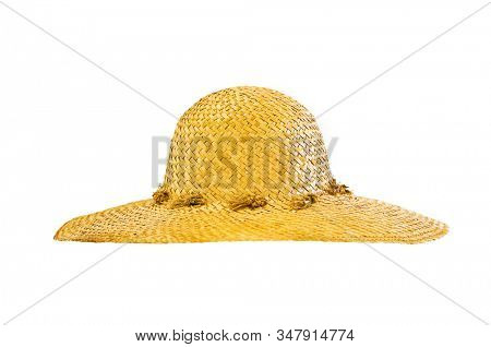 Isolated straw hat on white