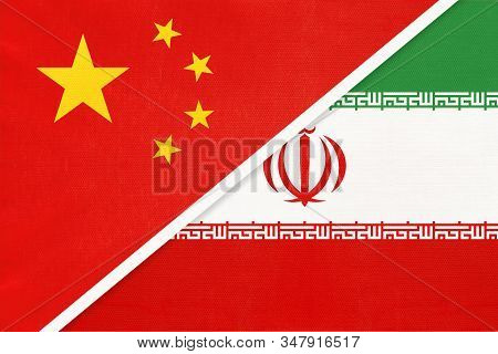 People's Republic Of China Or Prc Vs National Flag From Textile. Relationship Between Two Asian Coun