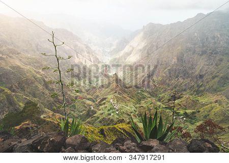 Lombo De Pico In Xo Xo Valley On Hiking Route Trail Over Rabo Curto To Ribeira Da Torre. Santo Antao