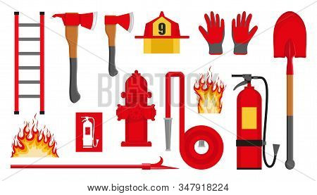 Set Of Firefighting Items. Fire Protection Equipment. Fireman Equipment. Equipment For Firefighter.