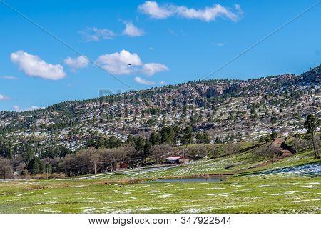 An Overlooking Landscape View Of Black Hills National Forest, South Dakota