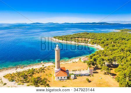Croatia, Adriatic Coastline, Aerial View Of Lighthouse Of Veli Rat On The Island Of Dugi Otok, Beaut