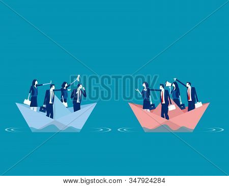 Serious Trade Tension Or Trade War. Concept Business Financ And Economy War Vector Illustration, Bet