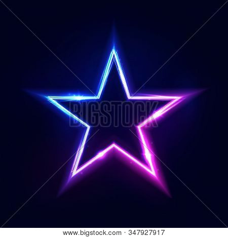 Neon Star Frame Or Neon Lights Sign. Vector Abstract Background, Tunnel, Portal. Geometric Glow Outl