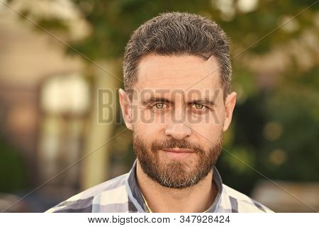 Barber Salon. Handsome Bearded Guy Portrait Close Up. Facial Hair And Skin Care Concept. Handsome Fa