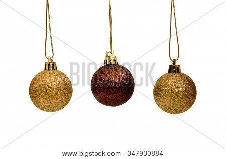 Shiny Christmas bauble decoration on white