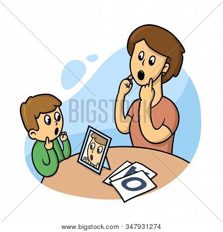 Logopedist With A Kid. Speach Therapy. Flat Style Vector Illustration Isolated On White Background.