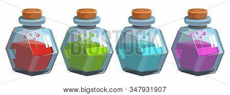 Bottles Potion. Game Icon Of Magic Elixir. Mana, Health, Poison Or Magic Elixir.bottles With Colorfu
