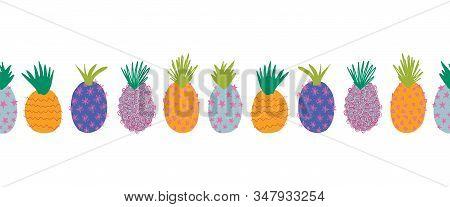 Pineapples Abstract Seamless Vector Border. Repeating Horizontal Colorful Pattern Border. Hand Drawn