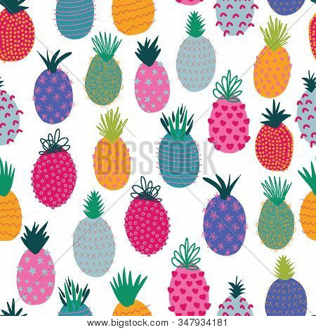 Pineapples Abstract Seamless Vector Summer Pattern. Repeating Colorful Tropical Background. Hand Dra