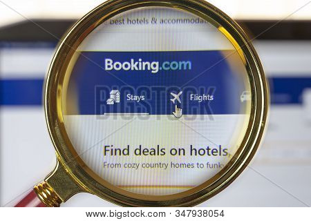 Rostov-on-don, Russia, January  24, 2020: A Search Engine For Booking Hotels Around The World