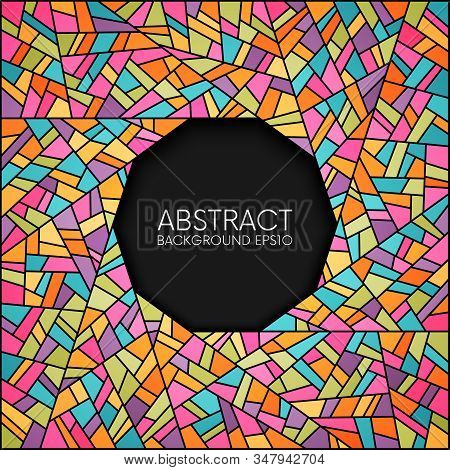 Abstract Colorful Stained Glass Circle Frame Vector Background