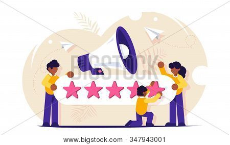 Customer Reviews. People Characters Giving Five Star Feedback. Clients Choosing Satisfaction Rating