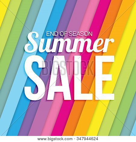 Summer Sale On Colorful Striped Seamless Background