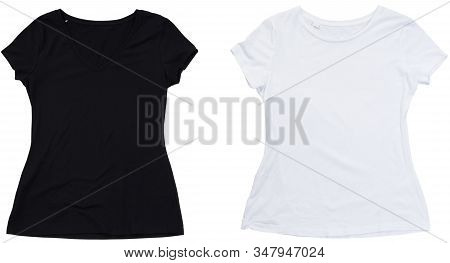 T-shirt Template, Black And White T Shirt, Front And Back Design Tshirt Mock Up. Empty Blank Tshirt