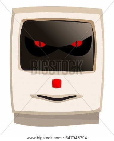Early Years Desk Top Beige Computer With Evil Grin On A White Background