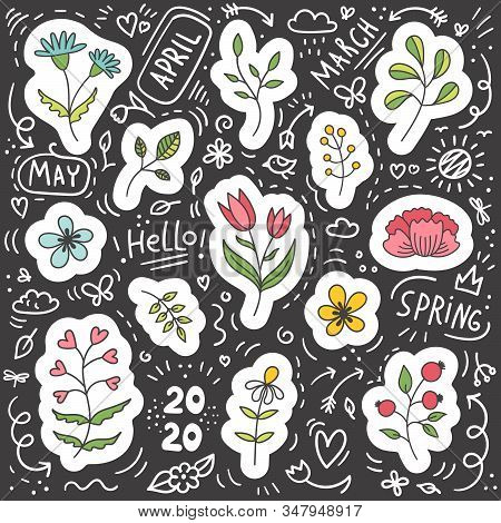 Set Of Plant And Flower Spring Stickers. Chalk Board.doodles.paper Stickers.easter, Holiday, Birthda