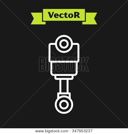 White Line Engine Piston Icon Isolated On Black Background. Car Engine Piston Sign. Vector Illustrat