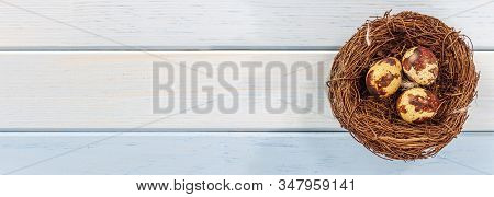Nest With Quail Eggs, On A Blue Wooden Background, Rustic Style. A Place To Write Your Text.