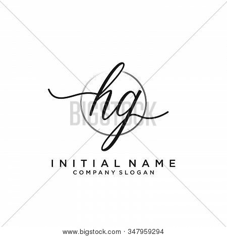 Hg Initial Handwriting Logo With Circle Template Vector.